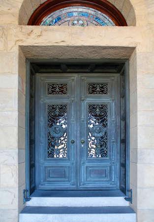 art door: Beautiful door in Mission church at Stanford University in California