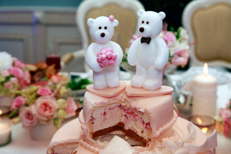 party pastries: Wedding cake decorated with polar bears Stock Photo