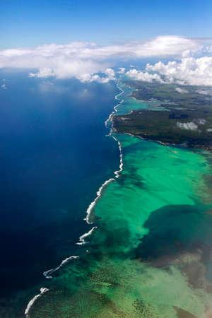 Mauritius sky view showing the beautiful ocean