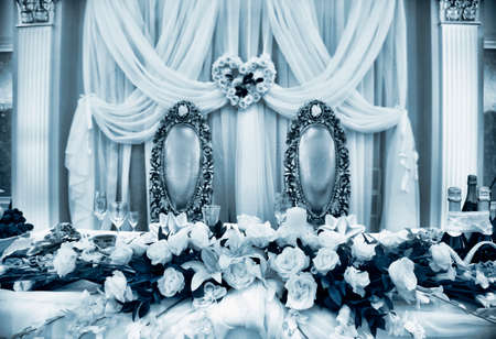 venue: Close up of beautifully laid tables at wedding reception venue