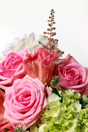 Bouquet alstroemeria, peony and rose on white isolated background