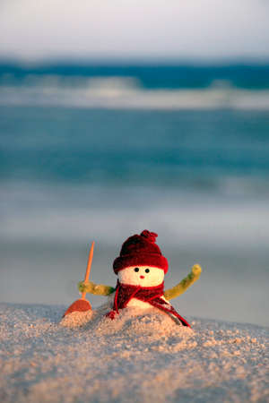Toy of the snowman on beach background