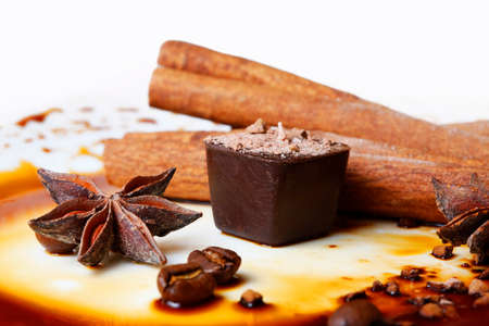 Chocolate candy isolated with anice and cinnamon Stock Photo