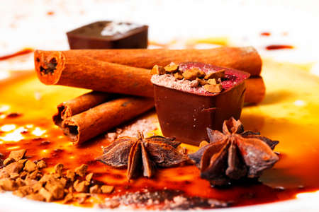 Chocolate candy isolated with anice and cinnamon Stockfoto
