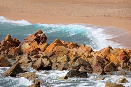 Blue coastal waves. Mediterranean Sea. Spain Stock Photo