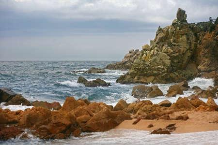 Blue coastal waves. Mediterranean Sea. Spain Reklamní fotografie
