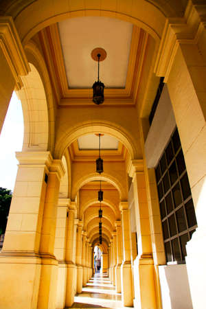 Typical portico under a colonial building in Cuba