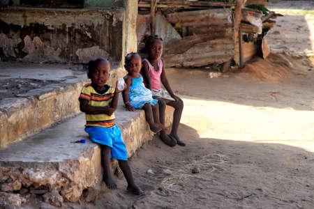 UKUNDA, KENYA - January 12, 2017: Group of african children from Ukunda, Kenya. Africa
