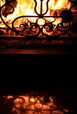Fire with sparks in a beautiful fireplace