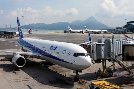 Hong Kong, Hong Kong SAR - July 19, 2012: Japanese airline passenger plane parked at the Hong Kong International Airport in Hong Kong, China