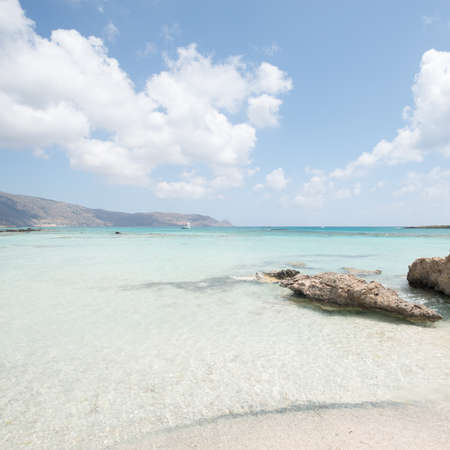 kreta: tranquil beach scene at elefonisi, crete, greece, europe Stock Photo