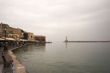 kreta: GREECE, CHANIA - MAY, 15. 2016: Port of Chania at a rainy afternoon. Illustrative Editorial.