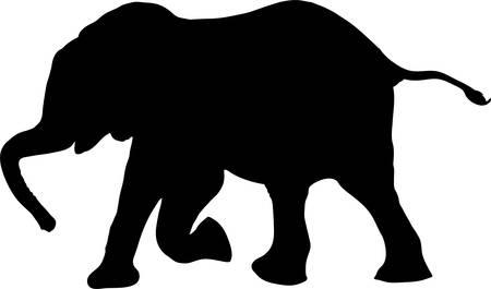Silhouette of a african desert elephant calw, walking - digitally hand drawn vector illustration 向量圖像