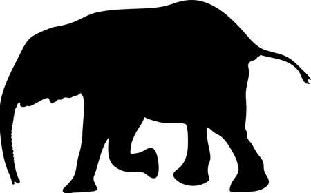 Silhouette of a small cute baby elephant, hand drawn vector illustration isolated on white background Illustration