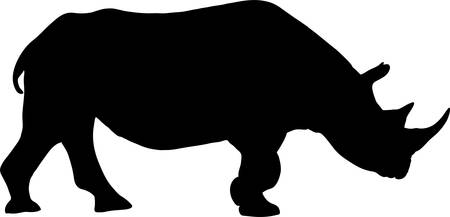 Silhouette of a standing rhinoceros, hand drawn vector illustration isolated on white background Иллюстрация