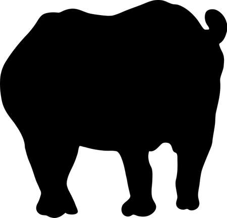 Silhouette of a standing rhinoceros, hand drawn vector illustration isolated on white background Illustration