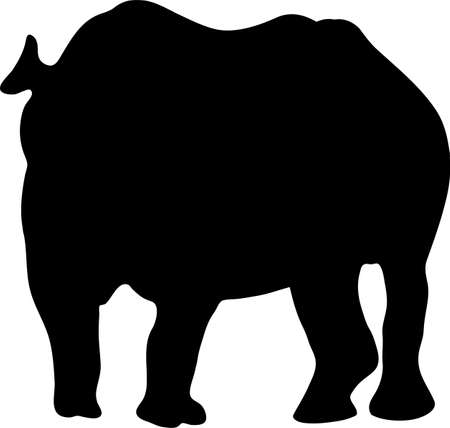 Silhouette of a standing rhinoceros, hand drawn vector illustration isolated on white background 向量圖像