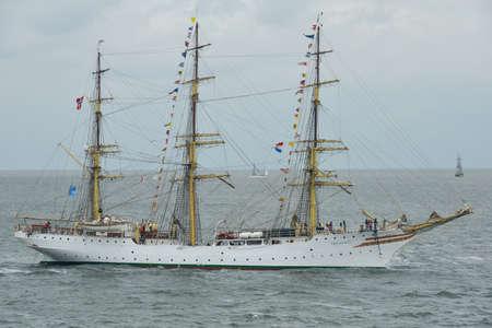 DEN HELDER, NETHERLANDS - June 25, 2017:  Sail Den Helder - Marinedagen 2017 - view on boats taking part in the event - modern defense ships meet historic tall ships at den helder, netherlands