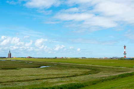 WANGEROOGE, GERMANY. 04th July 2017: View of the west coast on the island of Wangeroog, one of the seven east Frisian Islands, is a beautiful wadden sea island located in the german sea. Editorial