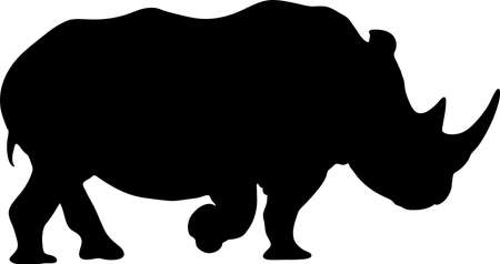 View on the silhouettes of a rhinoceros - digitally hand drawn vector illustraion Illustration