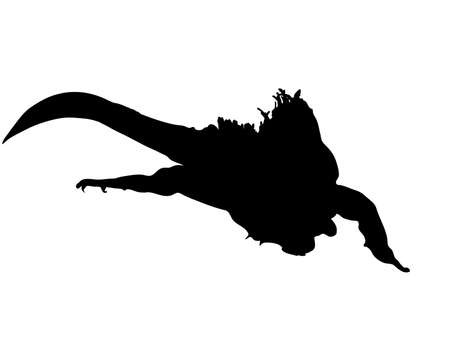 Digitally handdrawn Silhouette of a big reptile isolated on white background Illustration