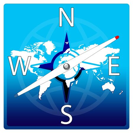 World Map Compass - blue color  Stock Photo