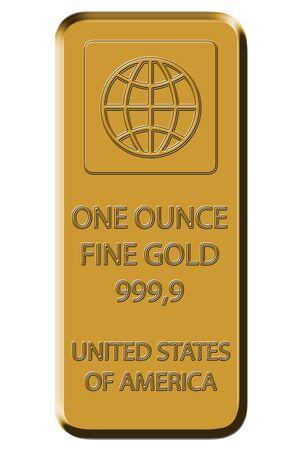 lingote de oro: Barra de oro - Gold Fine 999,9  Foto de archivo