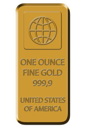 an ounce: Gold Bar - Fine Gold 999,9
