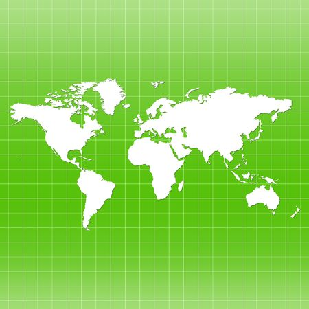 World Map on Grid - green color