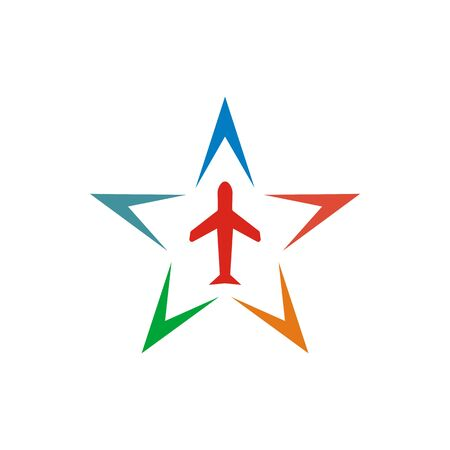 to flit: Logo Star Flit away Travel Plane Illustration