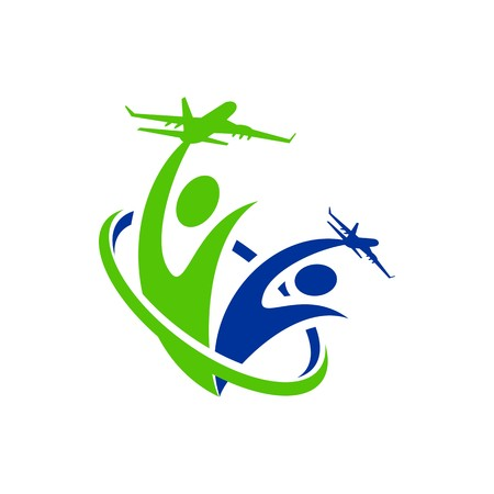 people traveling: Logo Airplane people line traveling holiday