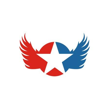 wings vector: America Star USA logo icon Wings vector