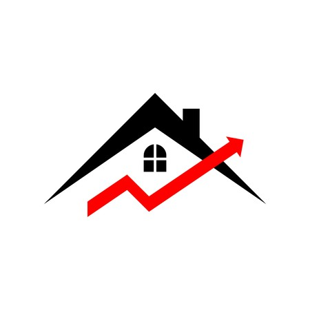 real estate growth: Business graph real estate growth progress icon vector