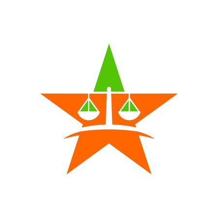 Law court bank house symbol justice finance icon star Illustration
