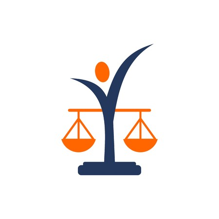 roman pillar: Law balance symbol justice scales icon on stylish