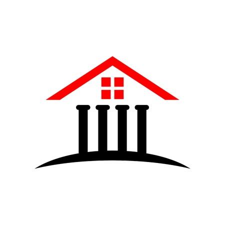 derecho romano: Corte de ley iconos de finanzas de la justicia símbolo de la casa bancaria