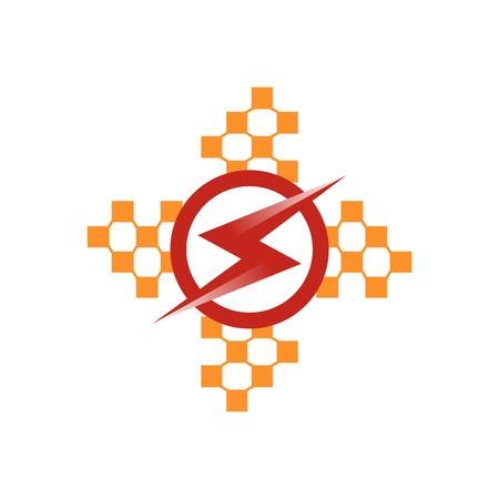 electricity pylon: abstract design padlock key bulb lamp symbol electric vector Illustration