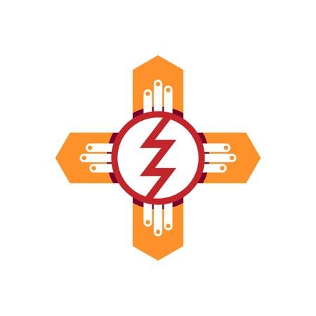 energetics: abstract design padlock key bulb lamp symbol electric vector Illustration