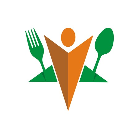 starving: spoon logo and fork symbol cutlery Illustration