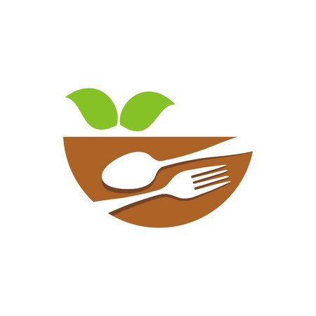 starving: icon food bowl spoon and fork vector