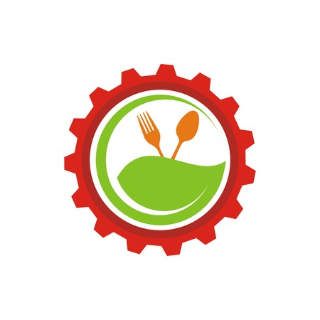 starving: gear logo with spoon and fork icon vector