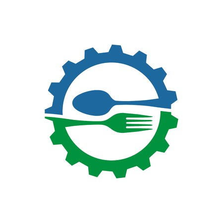 starving: gear with spoon and fork logo food kitchen vector Illustration