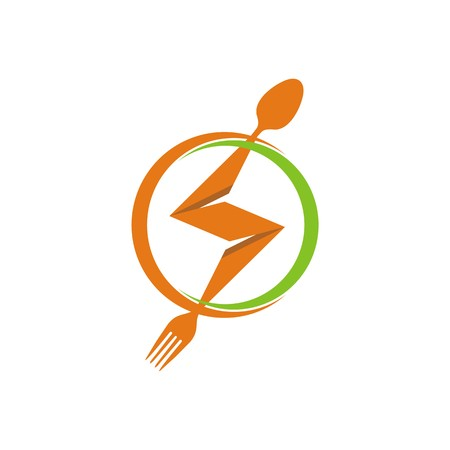 starving: circle logo spoon and fork design vector Illustration