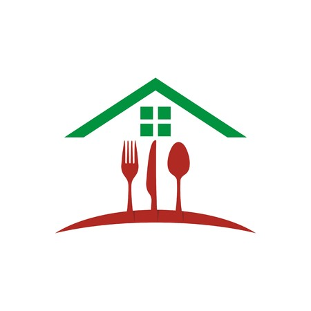 starving: logo restaurant food with spoon, knife and fork vector