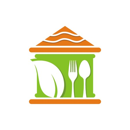 starving: Logo food cutlery design vector Illustration