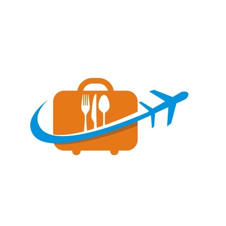 starving: bag with spoon and fork logo plant traveling vector