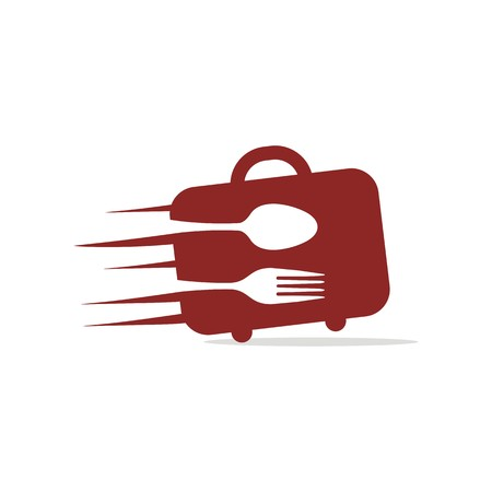 starving: bag with spoon and fork logo vector Illustration