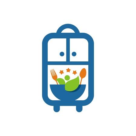 starving: logo cutlery food design vector