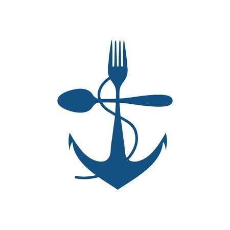 Achor nave Illustrazione vettoriale cucchiaio e forchetta