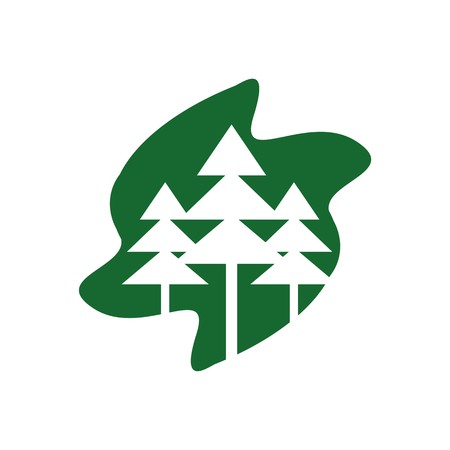 pine green: Logo abstract forest spruce pine green vector Illustration
